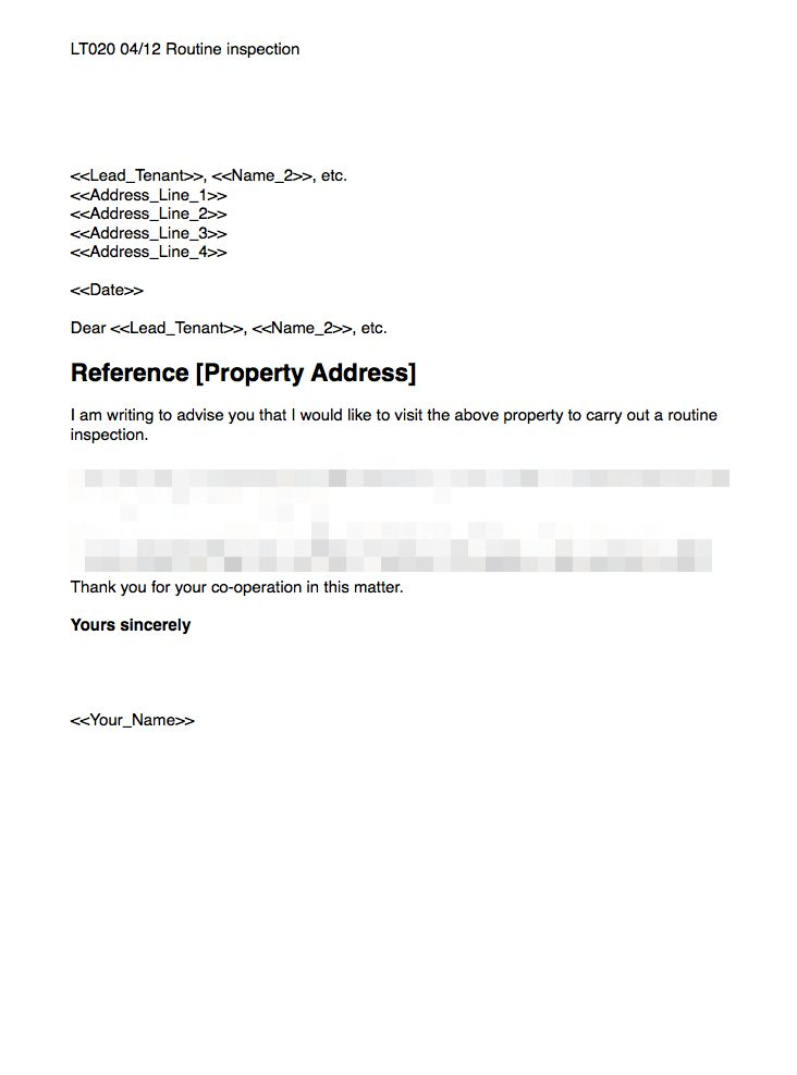 Routine Inspection Template | GRL Landlord Association