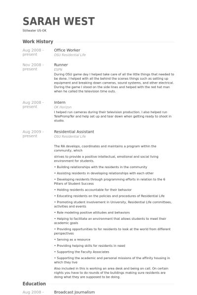 office worker resume
