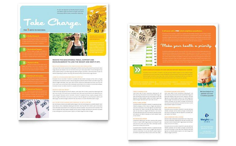 Weight Loss Clinic Datasheet Template - Word & Publisher