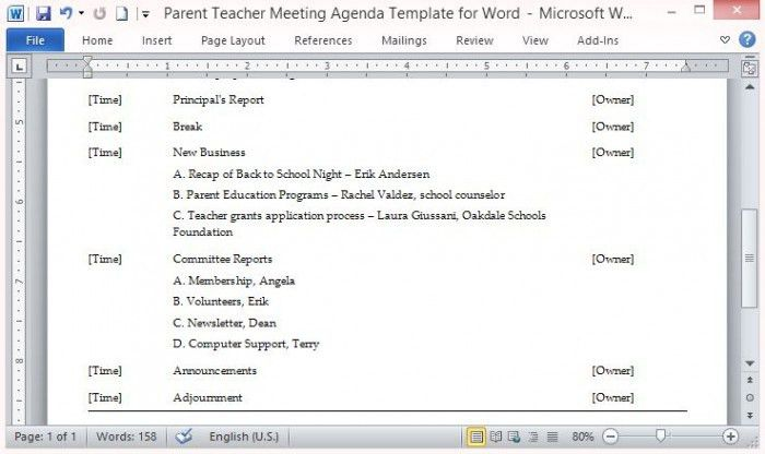 Parent Teacher Meeting Agenda Template for Word