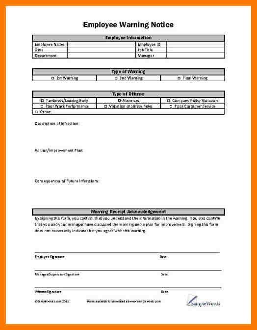 9+ employee warning template | park-attendant