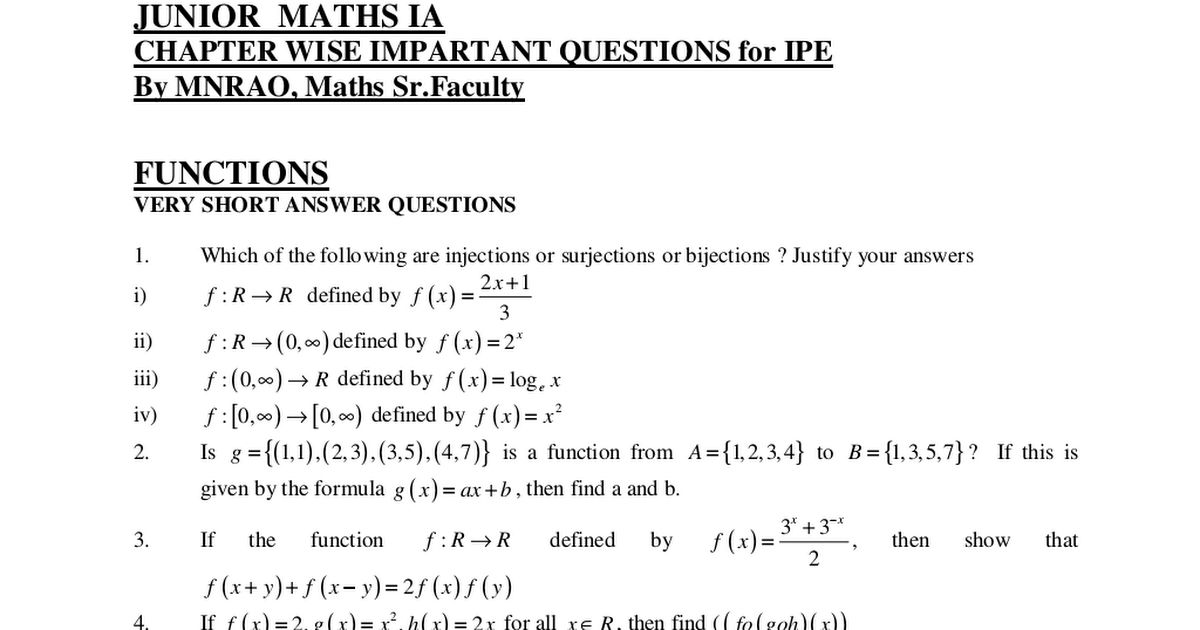 MATHS - 1A QUESTION BANK - Chapter wise important questions for ...