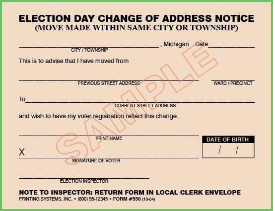 Printing Systems · 550 Election Day Change of Address (Move Made ...