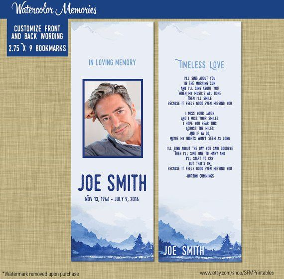 Male Funeral Memorial Prayer Card or Bookmark // Printable