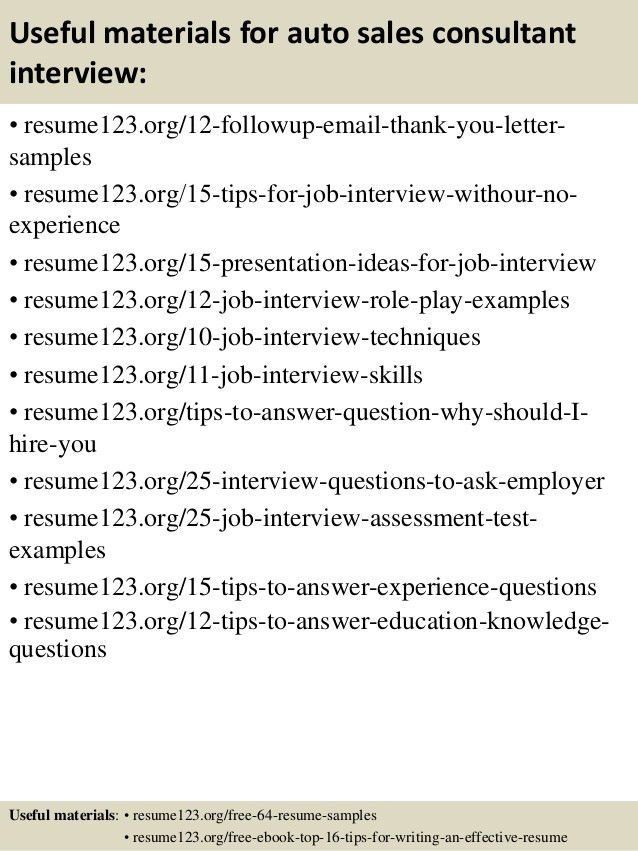 Top 8 auto sales consultant resume samples