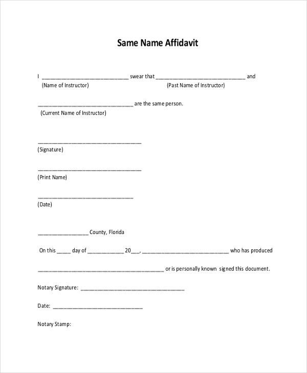 11+ Sample Free Affidavit Forms - Sample, Example, Formt