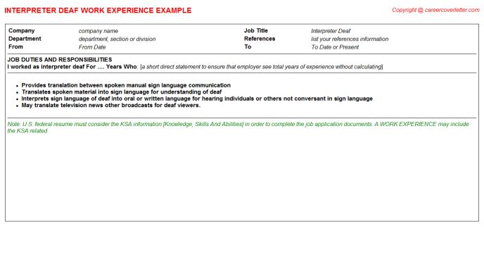 Japanese English Bilingual Interpreter CV Work Experience Samples