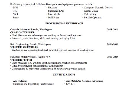 Welding Resume Objective - Reentrycorps