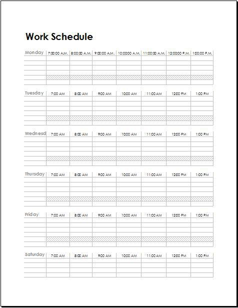 Work Schedule Templates for Employees | Word & Excel Templates