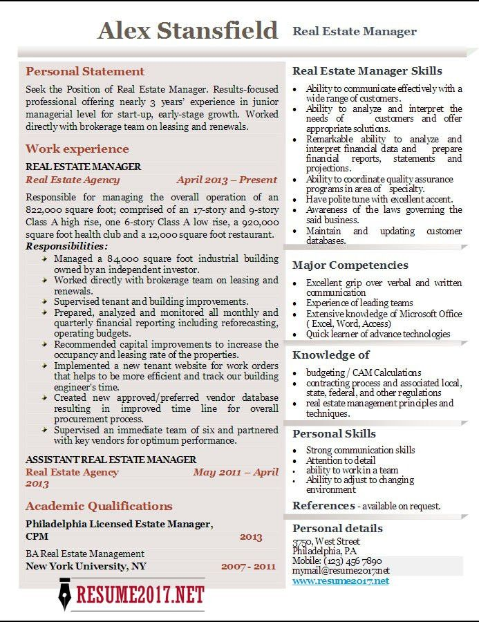 Real Estate Manager Resume 2017 Examples •