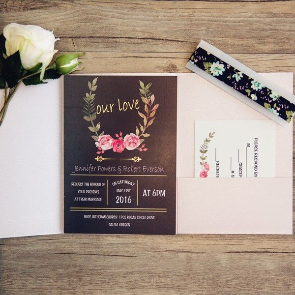pink and black pocket wedding invitations with gold wording ...