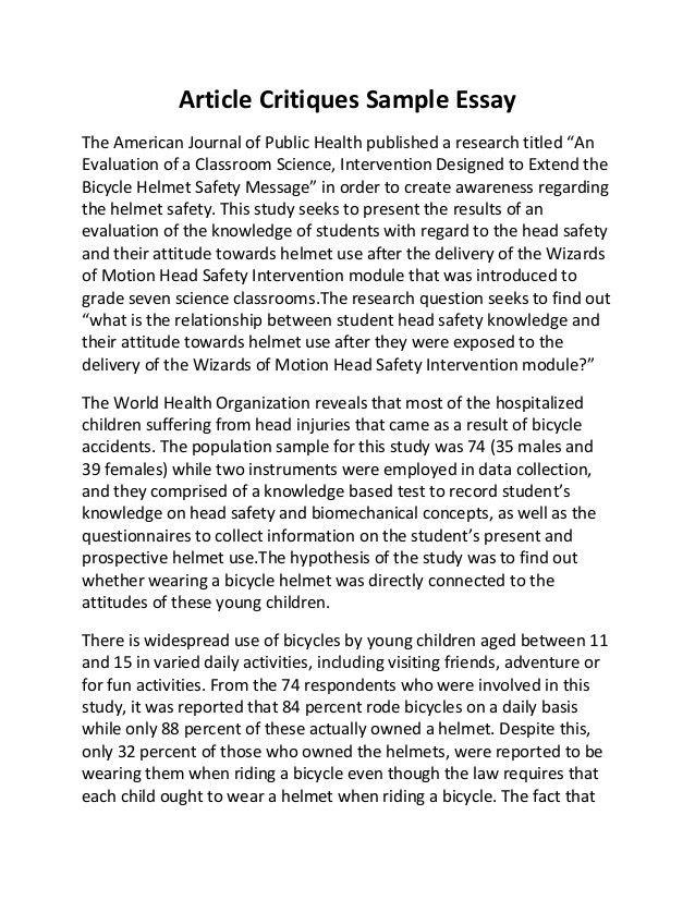 Article critiques sample essay