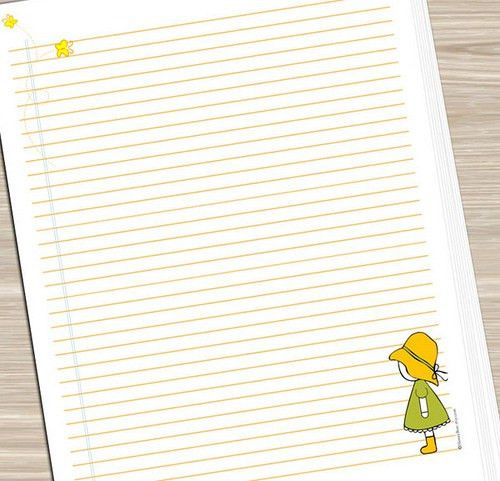 Printable Notebook Paper - Girl with Butterflies | JUST PRIN… | Flickr