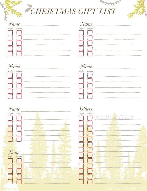 11 best Christmas list printable images on Pinterest | Christmas ...
