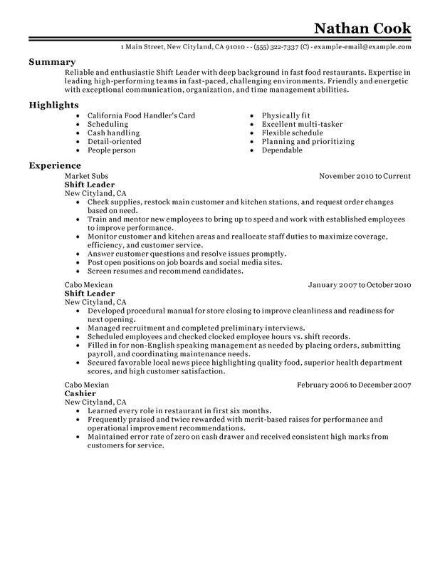 Unforgettable Shift Leader Resume Examples to Stand Out ...