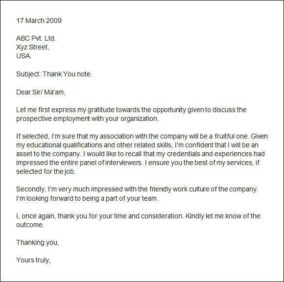 Thank You Letter After Interview. Sample Thank You Letter For An ...