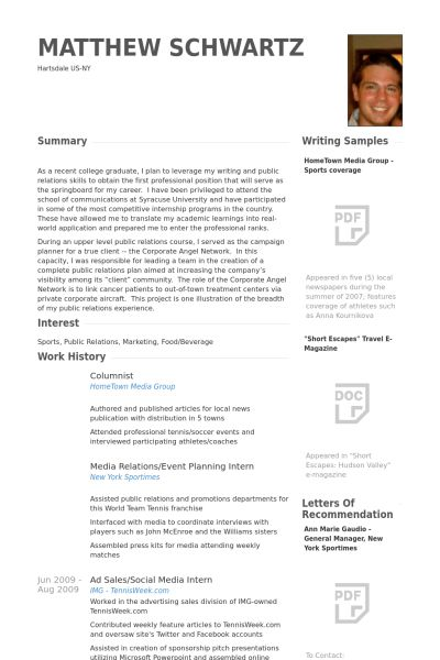 Columnist Resume samples - VisualCV resume samples database