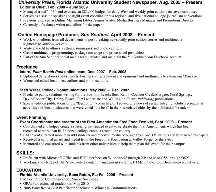 amazing ideas journalism resume examples 1 7 mistakes that doom a