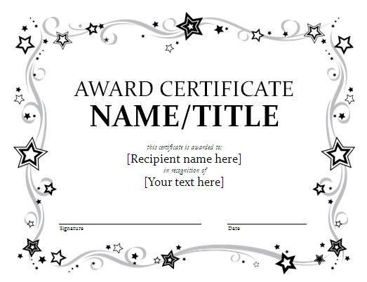 Epic Award Certificate Template Word Design with Stars and Floral ...