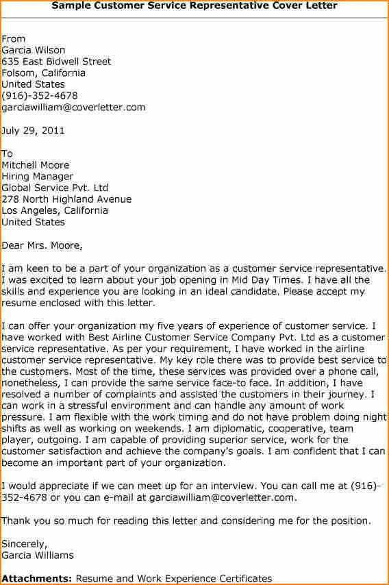 Sample Cover Letter For Customer Care Representative