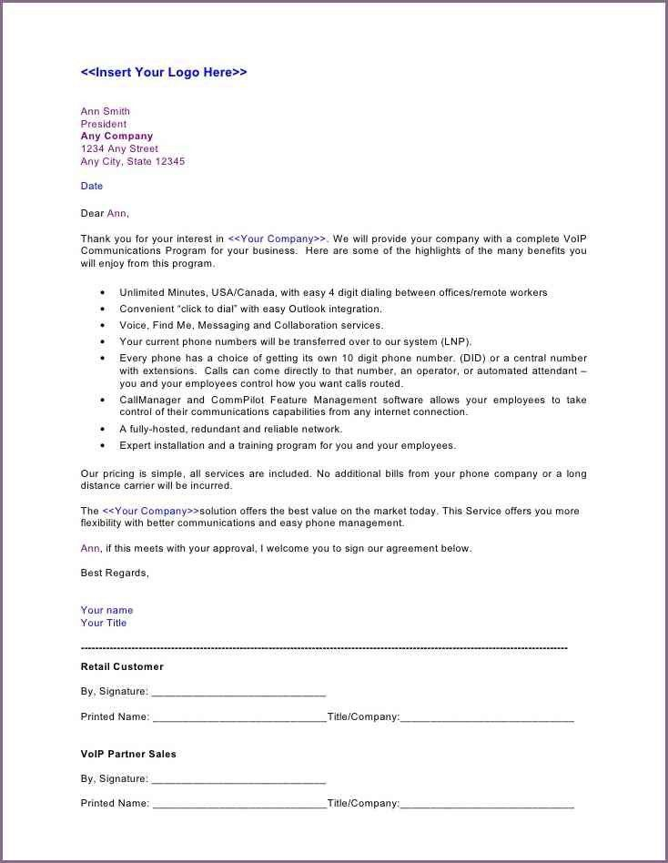 Sample Service Proposal Template. 6+ Business Proposal Letter ...