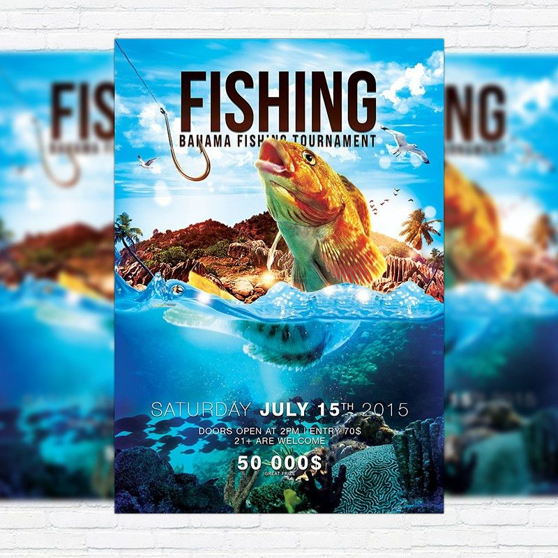 Fishing – Premium PSD Flyer Template + Facebook Cover ...