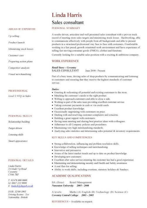 Sales consultant CV sample