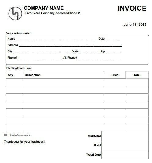 Work Invoice Forms - Best Resume Collection