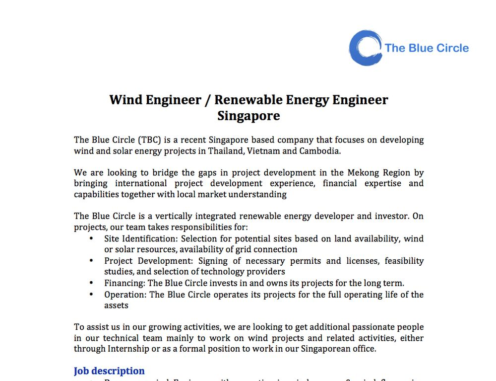 Wind Engineer / Renewable Energy Engineer Singapore — The Blue Circle