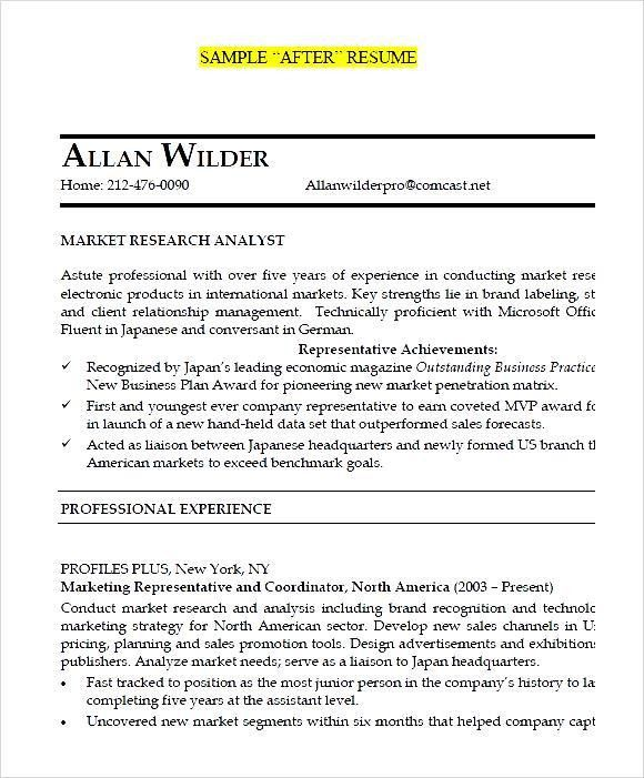 Junior Market Research Analyst After Resume PDF - Free Samples ...