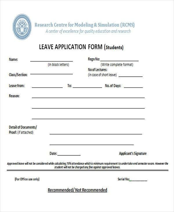 Stunning Leave Application Form For Office Contemporary - Best ...