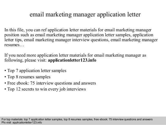 email marketing cover letter marketing cover letter example