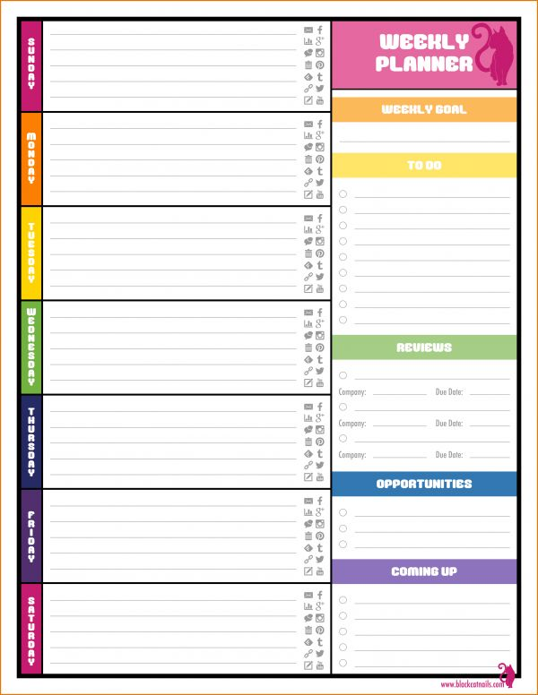 Print Weekly Calendar.weekly Blog Planner.png | Scope Of Work Template