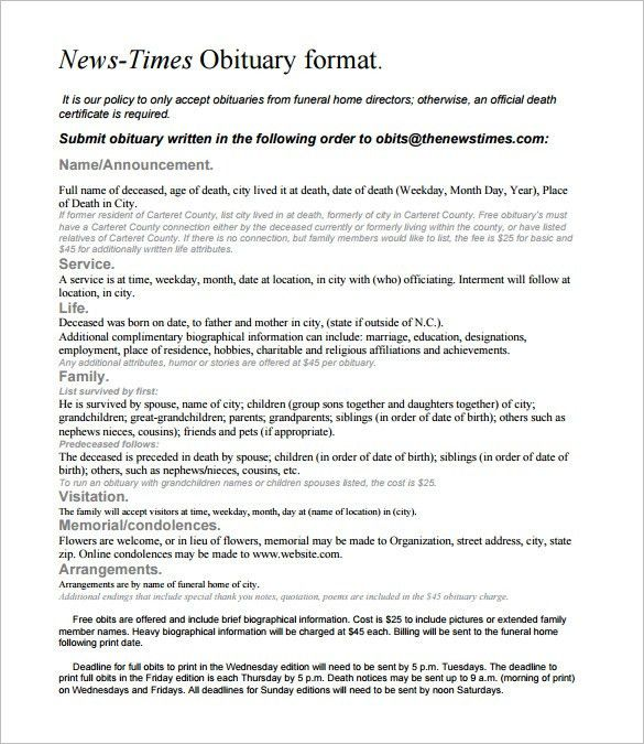 7+ Newspaper Obituary Templates – Free Sample, Example, Format ...
