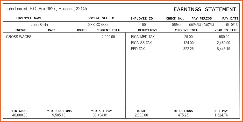 8+ pay stub template - Budget Template Letter
