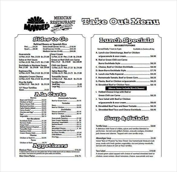 15+ Take Out Menu Templates – Free Sample, Example Format Download ...