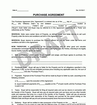 Purchase Agreement Form | Create a Free Purchase Agreement | Legal ...