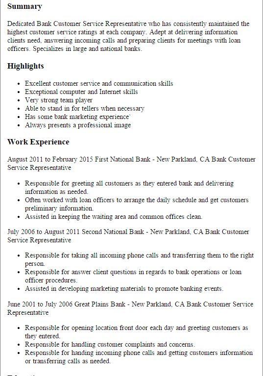 Sample Resume Customer Service Representative. download customer ...