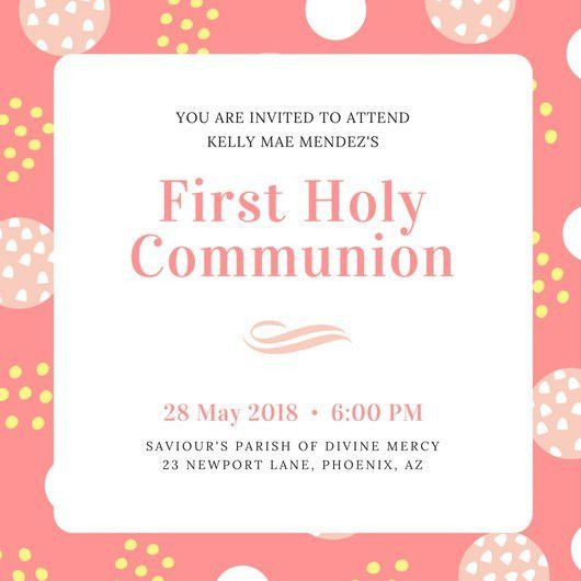 Peach and White Dots First Communion Invitation - Templates by Canva