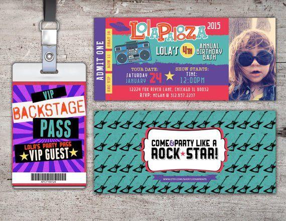 Pop Star-Concert ticket birthday invitation girl by LyonsPrints ...