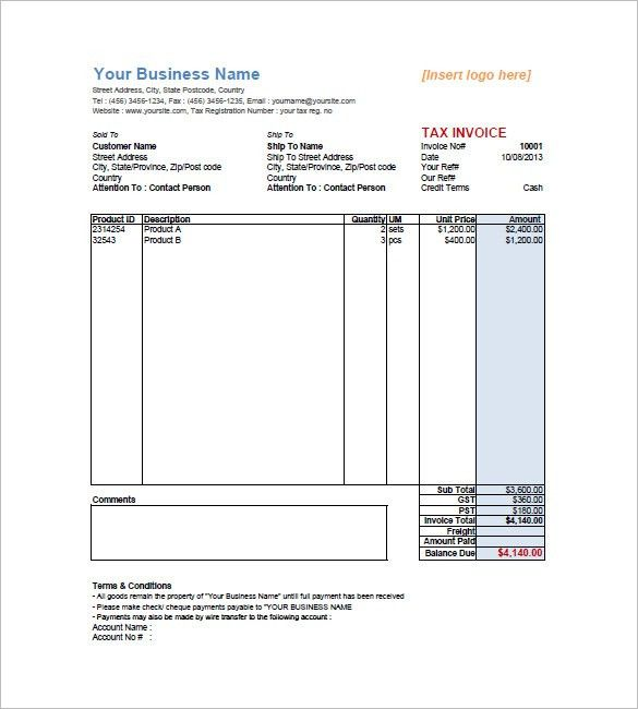 Tax Invoice Templates – 10+ Free Word, Excel, PDF Format Download ...