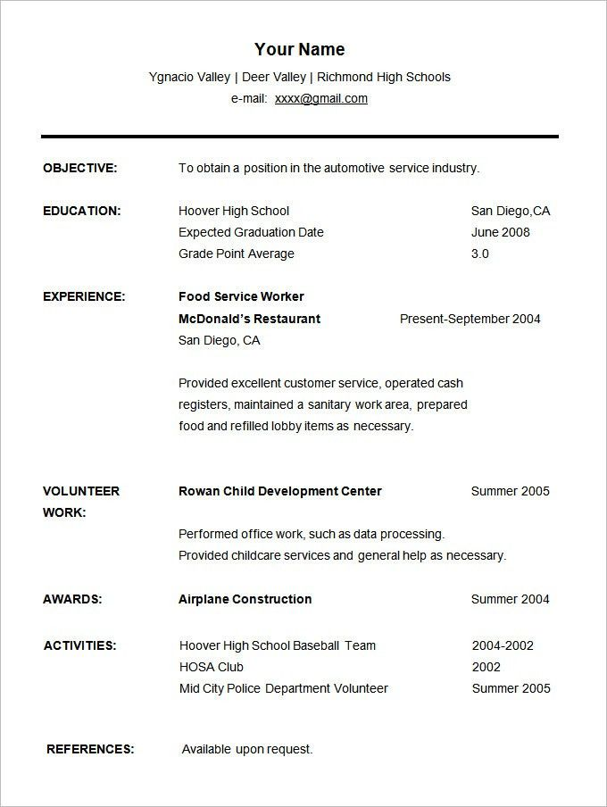 Free Resume Templates For High School Students. Resume Example ...