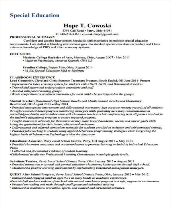 Sample Special Education Resumes. reading teacher resume s teacher ...