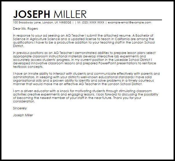 Ag Teacher Cover Letter Sample | LiveCareer