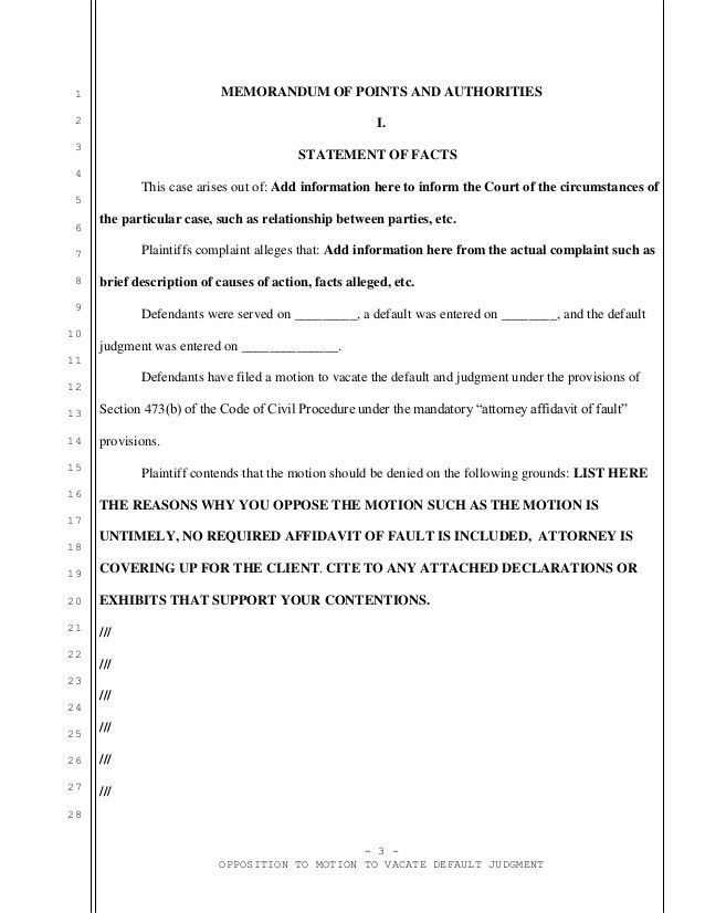 Sample opposition to motion to vacate in California with an attorney …