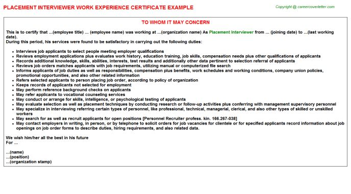Placement Interviewer Work Experience Letters
