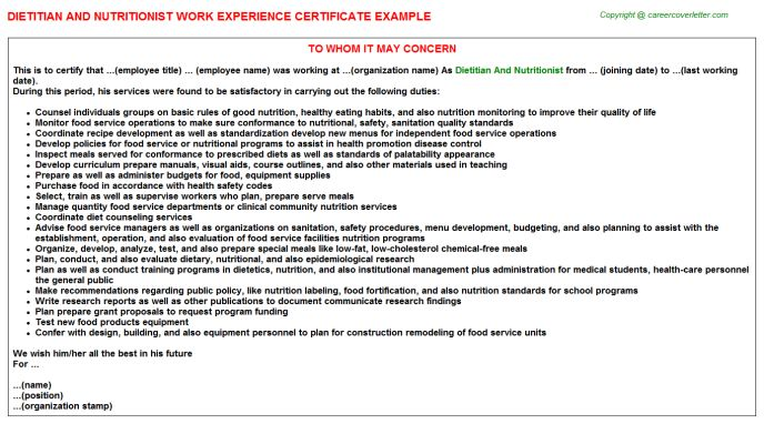 Samples of experience certificate work experience certificate dietitian and nutritionist work experience certificate yadclub Gallery