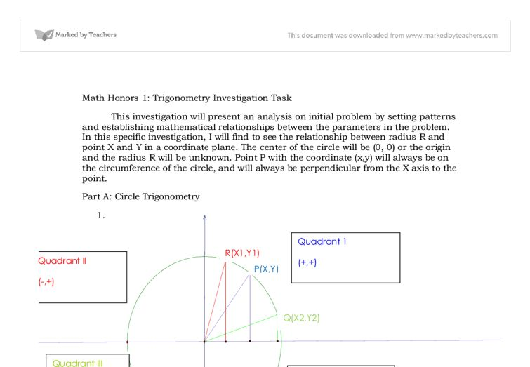 Math Portfolio: trigonometry investigation (circle trig ...