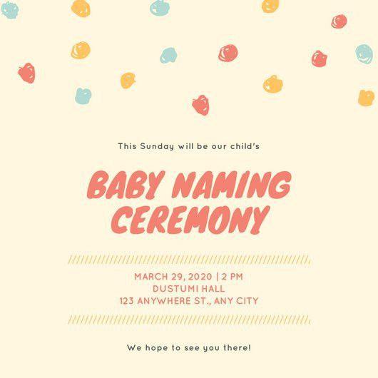 Cream Dots Border Baby Naming Ceremony Invitation - Templates by Canva