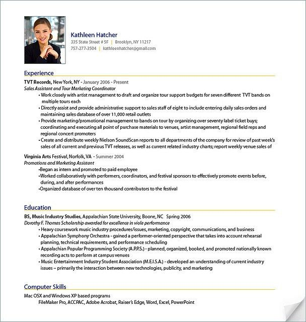 Resume Sample from ResumeBear.com Find great tips for writing ...
